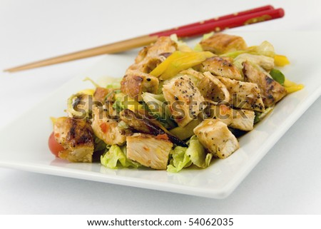 Mango and Grilled Chicken Salad - stock photo