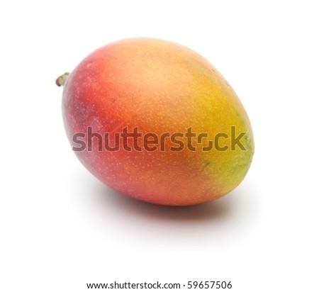 Mango, Beautifully ripened, isolated on white. - stock photo