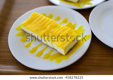 Mango cheesecake as desserts during lunch.