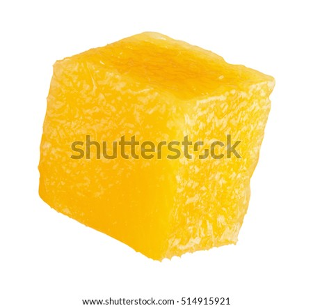 mango cube slice isolated on the white background