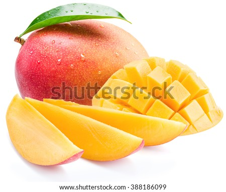Mango cubes and slices. Isolated on a white background.