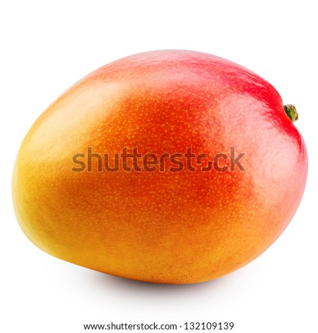 Mango fruit isolated on white background. Clipping Path - stock photo