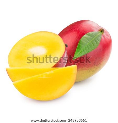 mango fruit isolated on white background Clipping Path  - stock photo