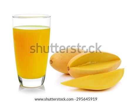mango juice and mango on white background - stock photo