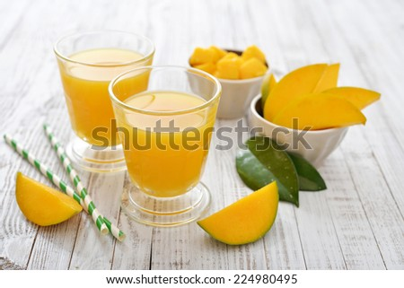 Mango juice in a glass on wooden white background - stock photo