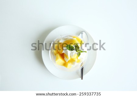 Mango Panna cotta  - stock photo