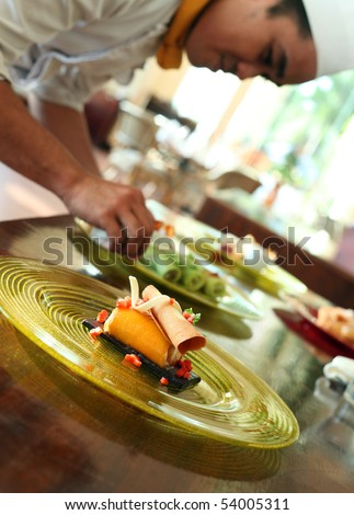 mango roll cake - stock photo