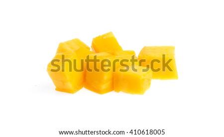 Mango slice cut to cubes isolated on white background - stock photo
