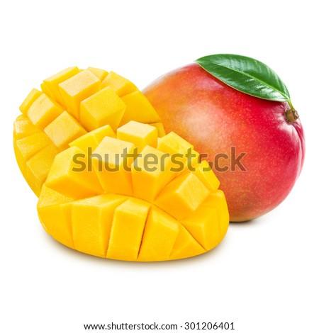 mango slice isolated on white background - stock photo
