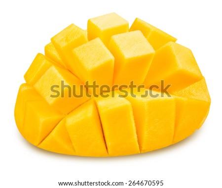 mango slice isolated on white background Clipping Path  - stock photo