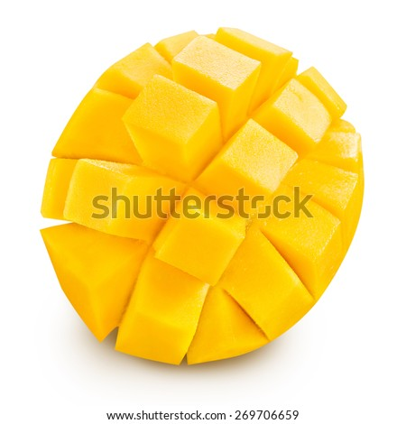 mango slice isolated on white background Clipping Path  - stock photo