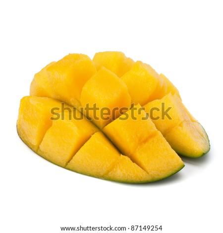 Mango sliced part isolated on white background - stock photo