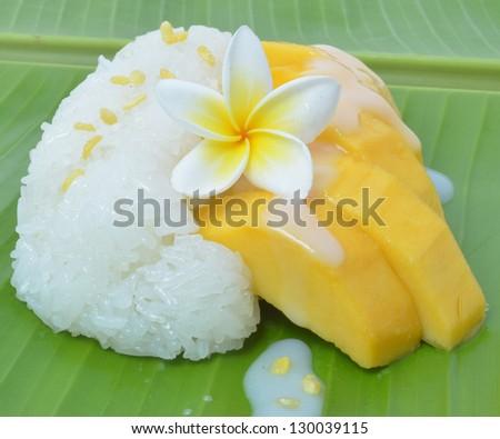 Mango sticky rice. - stock photo