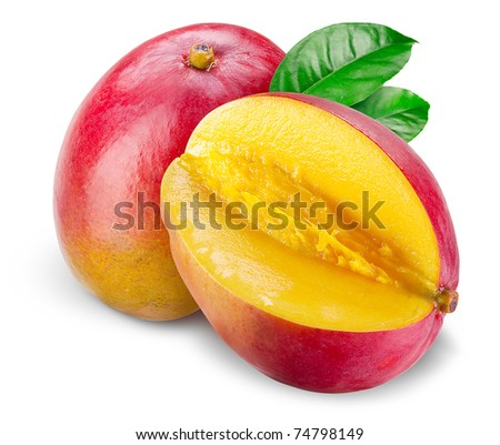 Mango with cut and green leafs isolated on white background