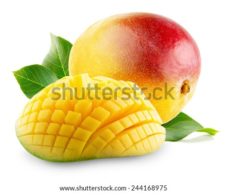 Mango with slices on a white background - stock photo