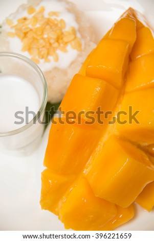 Mango with sticky rice, Asian sweet, Thailand dessert