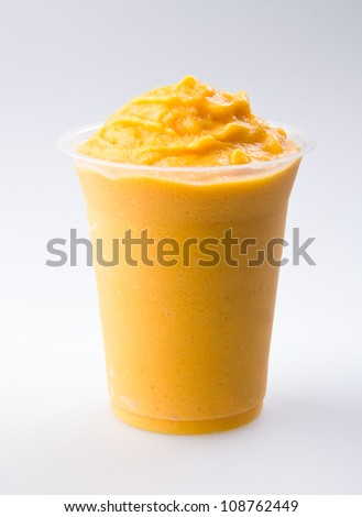 mango yogurt, milk shake isolated on white - stock photo