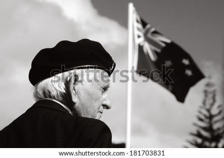 MANGONUI, NEW ZEALAND - APRIL 25 2012: NZ army veteran soldier participate in Anzac Day - War Memorial Service.Over 18,000 New Zealand soldiers were killed in the First World War.(BW) - stock photo