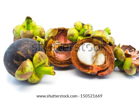 mangosteen and segment with clipping path on white