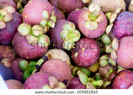 Mangosteen for sale on a street in Southern Vietnam,Mangosteen of Thailand