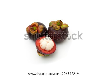 Mangosteen fruit from Thailand on white background