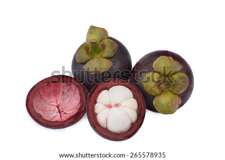 Mangosteen fruit isolated on white with one fruit cut open