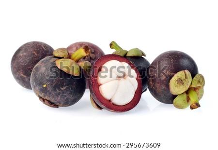 Mangosteen isolated on white background - stock photo