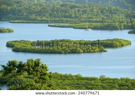 Mangrove island in the archipelago of Bocas del Toro,Caribbean sea, Panama - stock photo