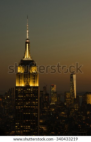 Manhattan after sunset from the top - stock photo