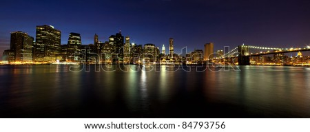 Manhattan and Brooklyn Bridge at dusk, New York - stock photo