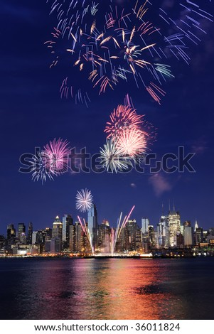 Manhattan and 4th july firework - stock photo