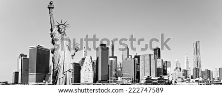 Manhattan and the statue of Liberty with reflection, New York City. USA. Black and White . - stock photo
