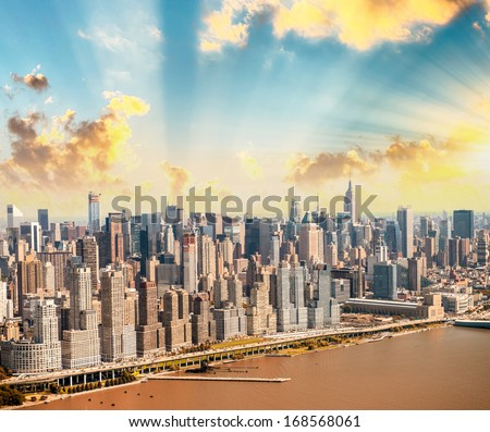 Manhattan as seen from Helicopter, New York skyscrapers. - stock photo