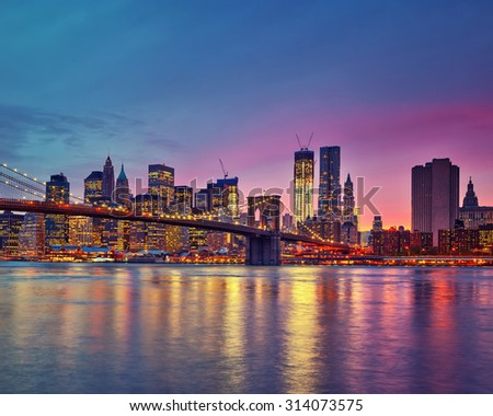 Manhattan at dusk, New York City - stock photo