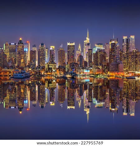 Manhattan at night - stock photo