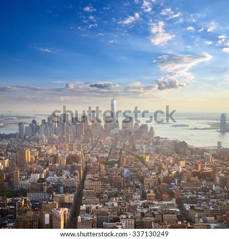 Manhattan at sunset aerial view, New York City, United States - stock photo