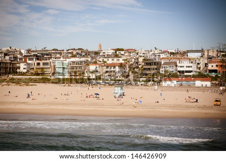 Manhattan Beach on a warm sunny day in Los Angeles, California, USA - stock photo