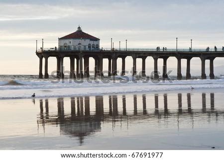 Manhattan Beach Pier Afternoon Low Tide - stock photo