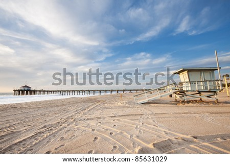 Manhattan Beach Pier and Life Guard Tower - stock photo