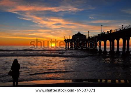 Manhattan Beach pier at twilight. - stock photo