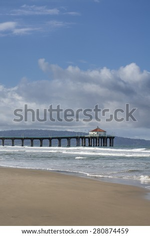 Manhattan Beach Pier California Partly Cloudy Day