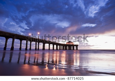 Manhattan Beach Pier Colorful Dusk - stock photo