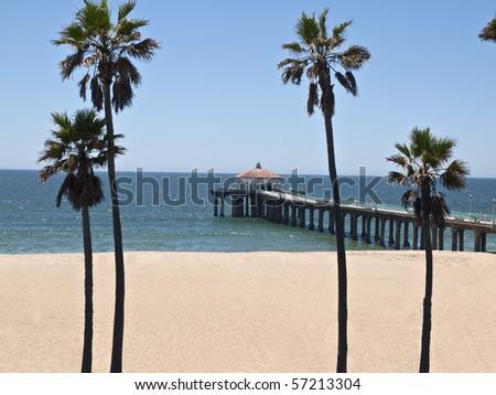 Manhattan Beach pier in scenic Southern California. - stock photo