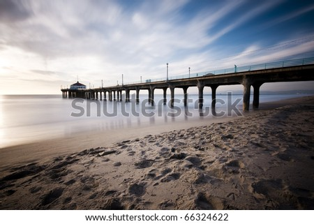 Manhattan Beach Pier Long Exposure at Sunset - stock photo