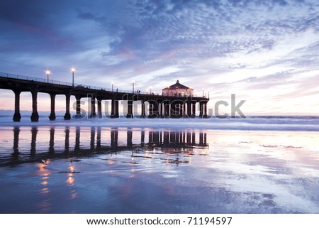 Manhattan Beach Pier Low Tide at Sunset - stock photo