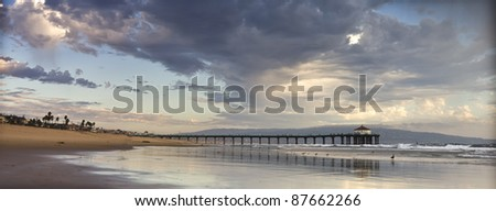 Manhattan Beach Pier Panoramic - stock photo