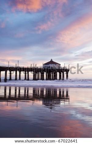 Manhattan Beach Pier Purple Reflections - stock photo