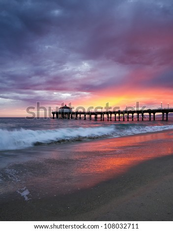 Manhattan Beach Pier Sunset - stock photo