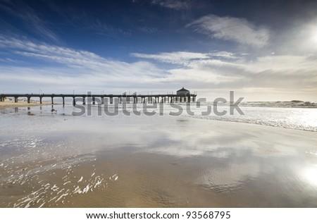 Manhattan Beach Pier Wide Angle - stock photo