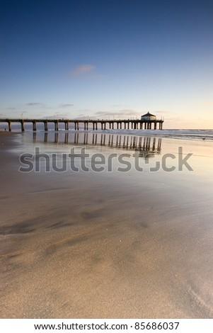 Manhattan Beach Pier Wide Angle Reflection - stock photo